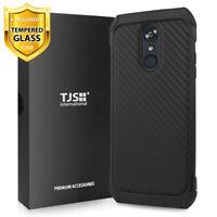 For LG Stylo 5, 5V, 5+ Plus, Phone Case TJS Impact Carbon Fiber+Tempered Glass