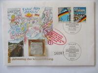 Berlin Mauer 1990, Brief mit original Mauerstück (17675)