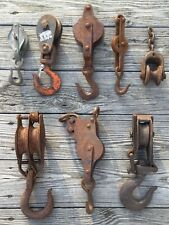 OLD VTG INDUSTRIAL PULLEY BLOCK TACKLE HOOK MCKISSICK CAST IRON METAL LOT OF 8