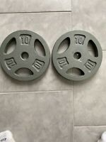 "Set Of Two (2) 10lb Weight Plates (20lb Total) 1"" Inch"