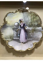 LIMOGES~ ANTIQUE VICTORIAN HAND PAINTED PLATE, Shadow Box in Gilded Wood.