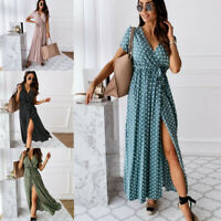 Womens Wrap Polka Dot Long Dress Ladies V-neck Side Split Holiday Beach Sundress