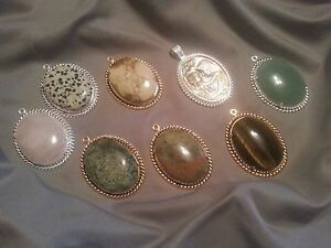 Assorted Cabochon Pendant's Silver or Gold plated brass