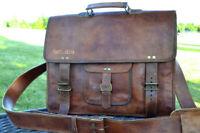 Vintage Messenger Shoulder Briefcase Laptop Bag Leather Men's Genuine Brown Goat