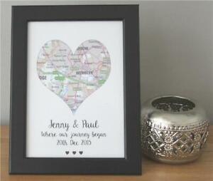 Personalised Love Heart Map Christmas Gift Girlfriend Keepsake Journey Began
