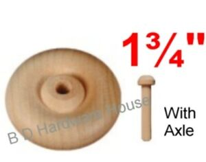 "1 3/4"" Wood Wheels - Select 4 to 48 with Axles - Toy Parts Wooden Wheel"