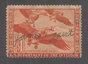 US Sc RW11 used 1944 $1 White Fronted Geese, Duck Stamp, staple holes CV: $50