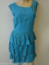 ☆MISS SELFRIDGE Ladies Teal Tiered Cinch Waist Mini Dress UK 10 EU 38 ☆