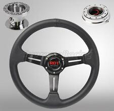 Black Steering Wheel Kit w/Quick Release PO For Toyota Celica Corolla Cressida