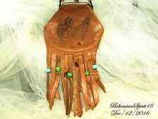 Antique 1900's 1000 Island Leather Etched Native Scene Change Purse Collectible