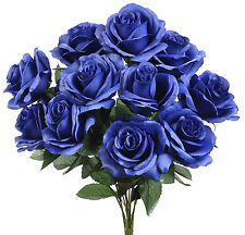 Royal Blue ~ 12 Open Long Stem Roses Silk Wedding Flowers Centerpieces Bouquets