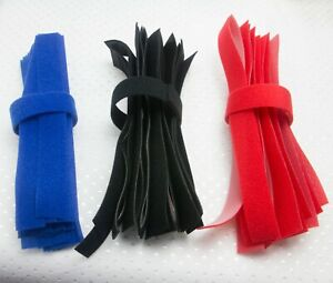 TIES PACK OF 10 VARIOUS COLOURED TOUCH AND CLOSE  TIDY STRIPS