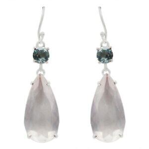 Rose Quartz, Blue Topaz gemstone dangle earrings 925 sterling silver ER101-589