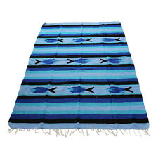 Genuine new Blue Sky & Black  Mexican fish floor rug large size blanket throw yo