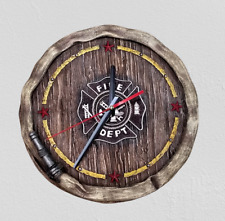 Western Country Wall Clock Antique Rustic Fire Department Home Decoration