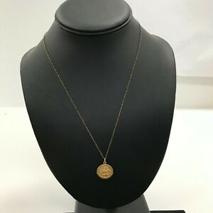 """Rolled Gold St Christopher Pendant Necklace Chain Yellow Metal 10"""" Long 422323"""