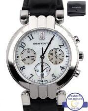 Harry Winston Premier Chronograph 37mm MOP 18K 750 White Gold Watch 200MC037W