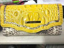 BRAHMIN Soft Checkbook Wallet in Sunflower Astaire Croc & Python Leather $225