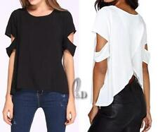 Chiffon Off-Shoulder Sleeve Solid Tops & Blouses for Women