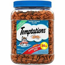 TEMPTATIONS Classic Treats for Cats 30-ounce Tubs - Savory Salmon Flavor …