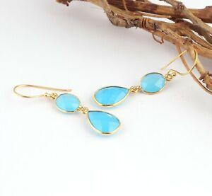 Best Selling Chalcedony Double Stone 24k Gold Plated Bezel Setting Drop Earrings