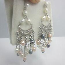 Sterling silver women pearl Huggie dangle drop Stud earring 925 CGI Pushback NEW