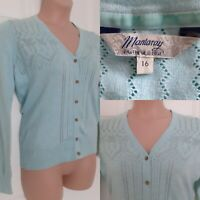 MANTARAY Size 16 Cotton Pale Blue Pointelle Pastel Long Slv Cardigan Lightweight