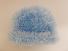 Hand Knitted Baby Hat Blue Fur Effect 0-3 Months Baby Winter Hat Lovely