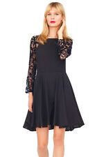 YUMI KIM $249 Delicate Lace Sleeve Sweet Silk Swing Cocktail Party Dress black S