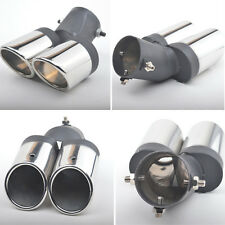 New Bent Double-barrel Car Exhaust Pipe Tip Modified Tailpipe Cover End 63mm 1pc