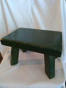 Vintage Green Wood Milking stool