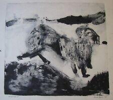 "ANNE HALL AUSTRALIAN UNFRAMED MONO PRINT ""ABSTRACT DOG"" 1967"
