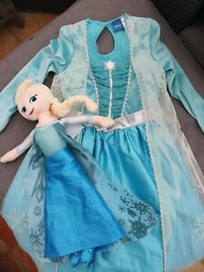 "❄☃️OFFICIAL DISNEY FROZEN ELSA COSTUME DRESS UP Two 2 18"" PLUSH DOLL 7-8Y"