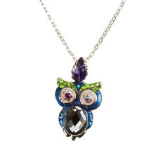 "Cute Crystal Owl Pendant Necklace - Cubic Zirconia 16"" Chain 2"" Extender (H52/2)"