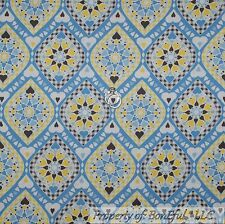 BonEful Fabric Cotton Quilt Blue White Yellow Heart Dot Damask Flower Sale SCRAP