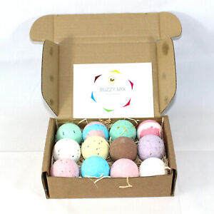 Reduced plastic Buzzy Bath Bombs set of 12 x 65g Round gift set Bee Beautiful