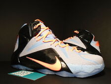 reputable site 968c6 d3a2d Nike LEBRON XII 12 EASTER ALUMINUM GREY SUNSET GLOW LAVA PINK BLACK SILVER  DS 11