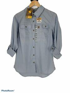 NWT Carhartt Force Ridgefield shirt Womens S 4-6 Blue Roll Tab Sleeve