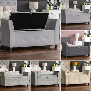 Seville Storage Ottoman Seat Stool Bench Bedroom Trunk Pouffee Toy Box Chest