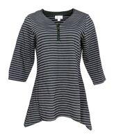 Denim & Co. Perfect Jersey Stripe 3/4 Sleeve Top w/ Trapeze Hem Black Medium M