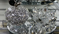 SPARKLY BLING CRUSHED DIAMOND CRYSTAL FILLED APPLE SHAPE TEALIGHT CANDLE HOLDER
