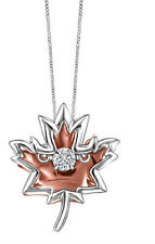 "10K White & Rose Gold Canadian ""Dancing"" Diamond Maple Leaf Necklace Pendant"