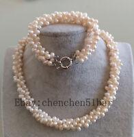 3 Stränge 7-8mm weißen Reis Barock Süßwasser Perle Twist Halskette Armband set
