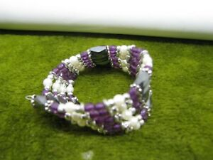 ACRYLIC N MAGNETIC HEMATITE NO CLASP WRAP BRACELET OR ANKLET PURPLE BEADS TOO