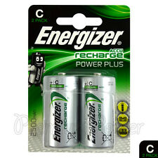 4x Energizer Rechargeable C Size batteries Accu Recharge Power Plus NiMH 2500mAh