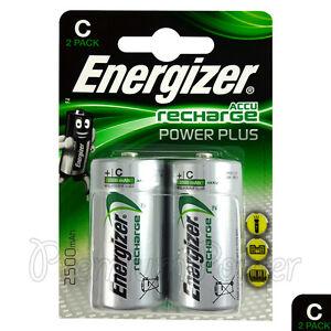 2x Energizer Rechargeable Taille C Piles Batterie Recharge D Plus Nimh 2500mAh