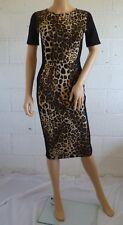 WAREHOUSE Black / Leopard Bodycon Pencil Dress UK 10 / EU 36 Short Sleeve Party