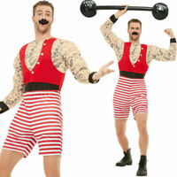 Mens Deluxe Strongman Costume - Fancy Dress Outfit Circus Showman Funny Stag