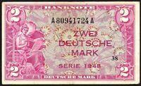 1948 Germany - Federal Republic 2 Mark Banknote * A 80941724 A * gF * P-3a *