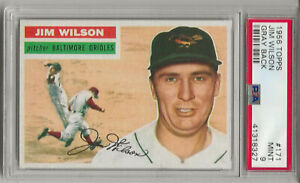 1956 TOPPS #171 JIM WILSON, PSA 9 MINT, GRAY BK, NONE HIGHER, HIGHEST GRADED